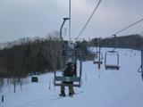 Dan on the ski lift - alone