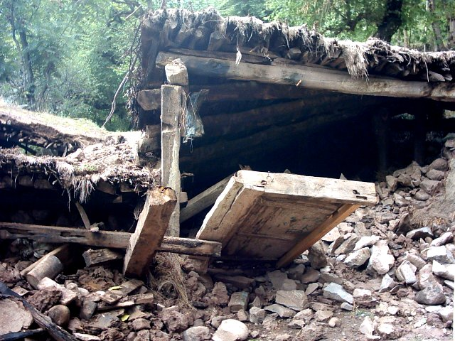 Collapsed Wooden House