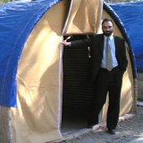Rounded shelter for quake survivors