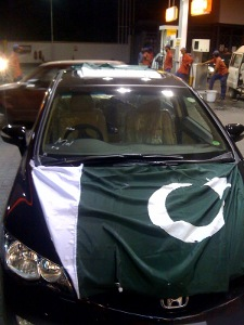 Pakistani flag on a car