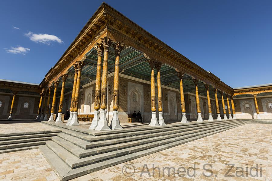 Wooden columns at Imam Bukhari tomb