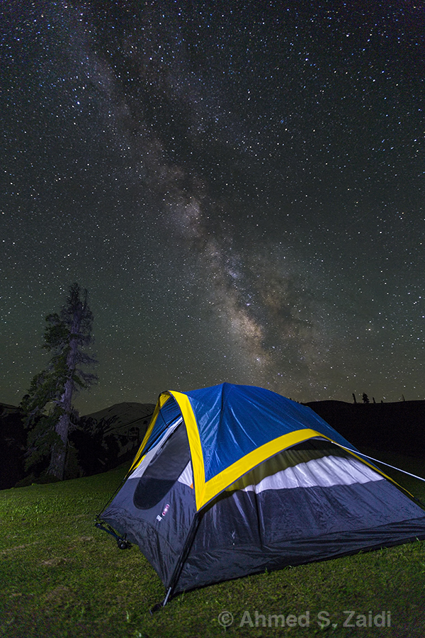 Milky Way tent light painting