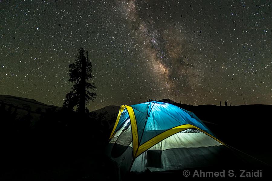 Tent light Milky Way