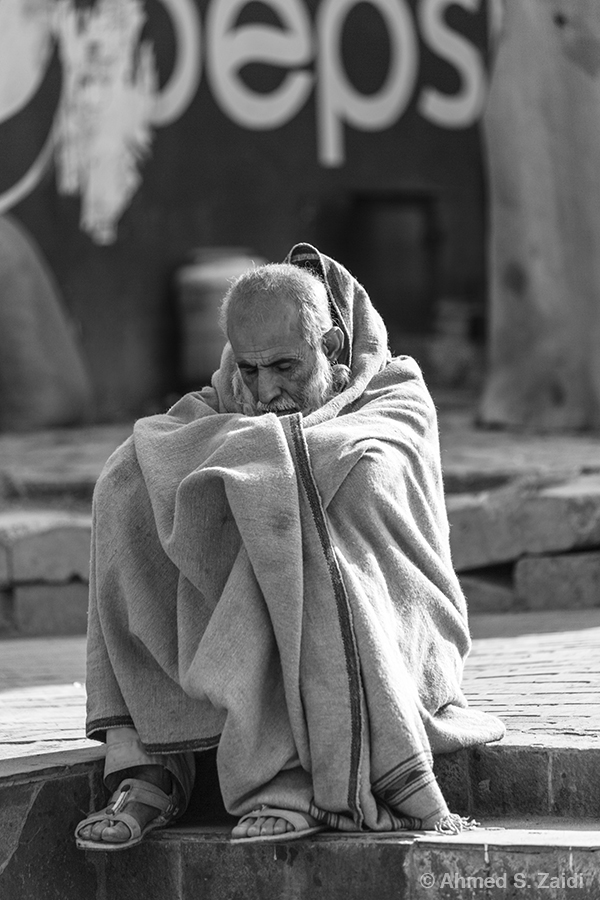 Winter warmth old man
