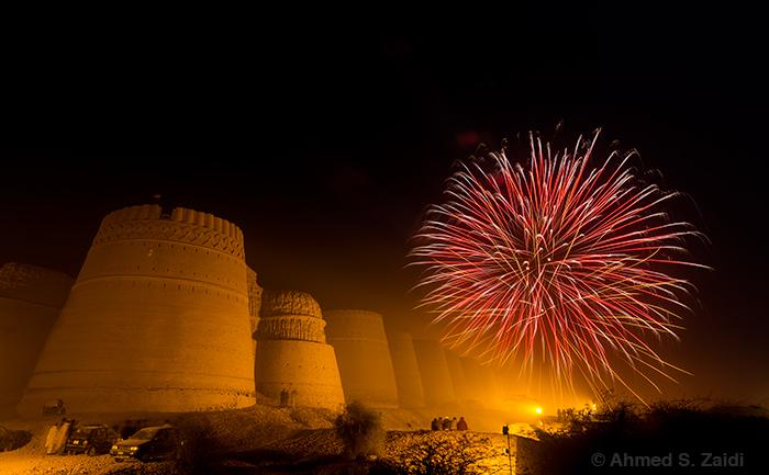 Derawar Fort Cholistan desert fireworks