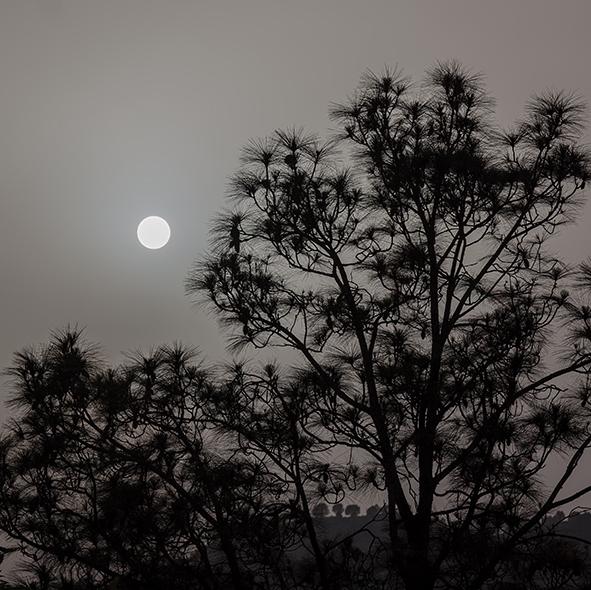 Hazy sun Margalla Hills