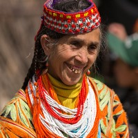 Kalashi old woman in traditional dress
