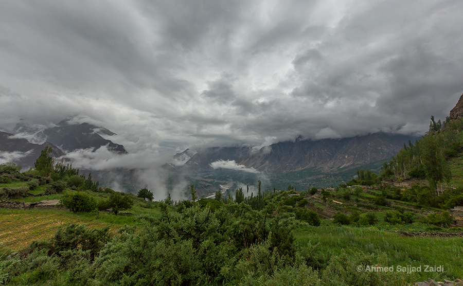 Hunza Valley in clouds